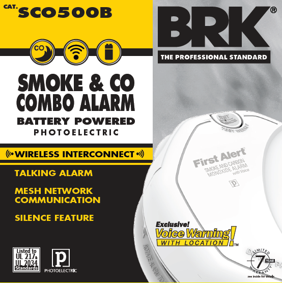 brk wireless interconnect battery smoke co combo alarm w voice. Black Bedroom Furniture Sets. Home Design Ideas