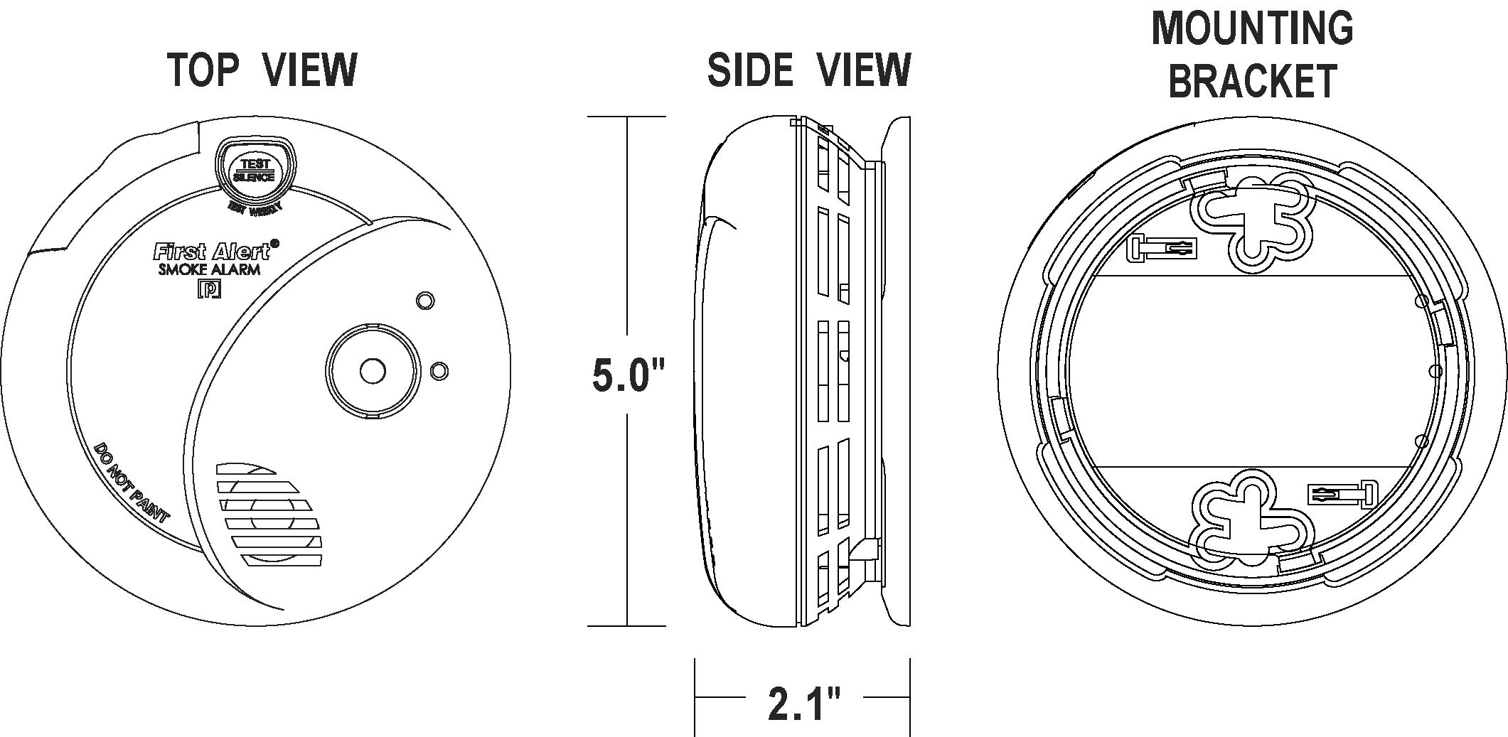 120v Ac Dc Photo Smoke Alarm W Escape Light First Alert Wiring Diagram Dimensions And Scale Drawings